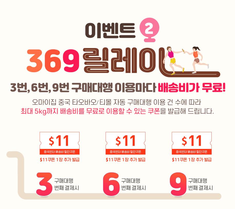 이벤트2 369릴레이 / 3번,6번,9번 구매대행 이용마다 배송비가 무료! / 오마이집 중국 타오바오/티몰 자동 구매대행 이용 건 수에 따라 배송비 할인 쿠폰을 발급해 드립니다.